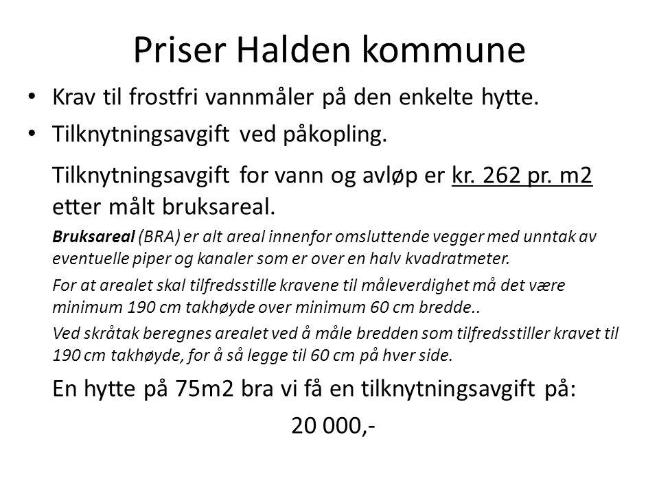 Priser Halden kommune Krav til frostfri vannmåler på den enkelte hytte. Tilknytningsavgift ved påkopling.
