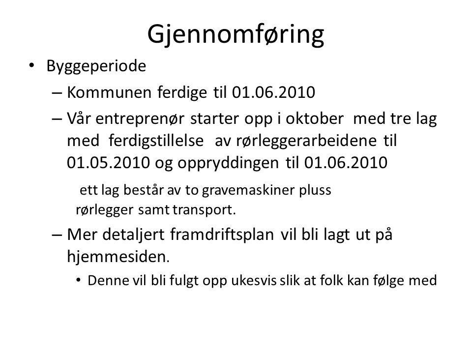 Gjennomføring Byggeperiode Kommunen ferdige til 01.06.2010