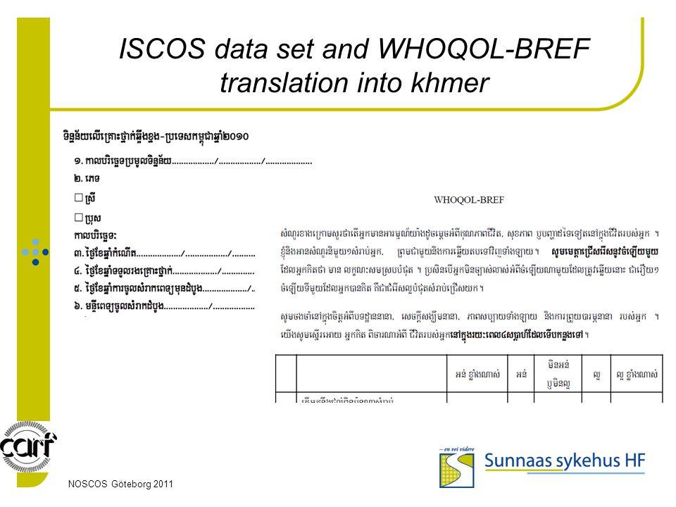 ISCOS data set and WHOQOL-BREF translation into khmer