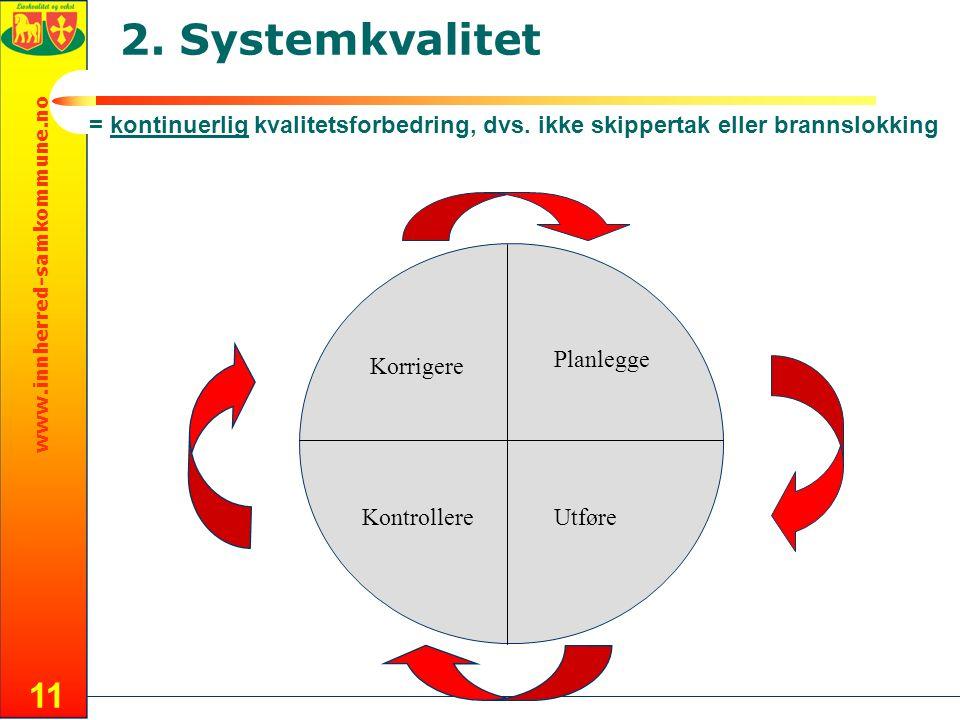 2. Systemkvalitet = kontinuerlig kvalitetsforbedring, dvs. ikke skippertak eller brannslokking. Planlegge.