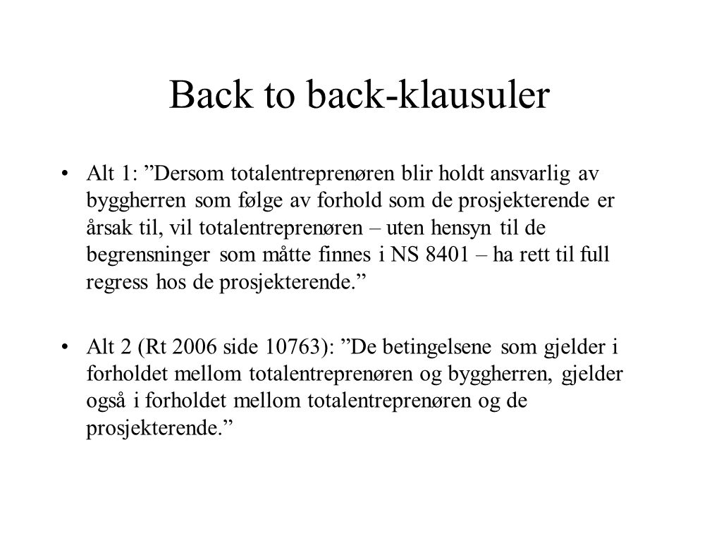 Back to back-klausuler
