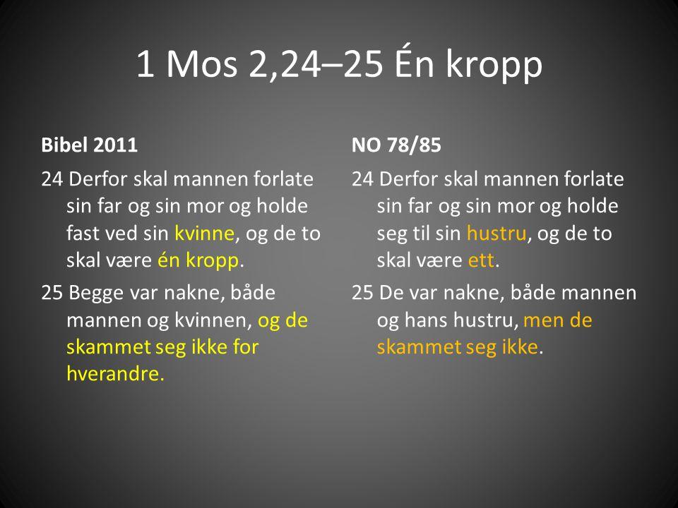 1 Mos 2,24–25 Én kropp Bibel 2011. NO 78/85.