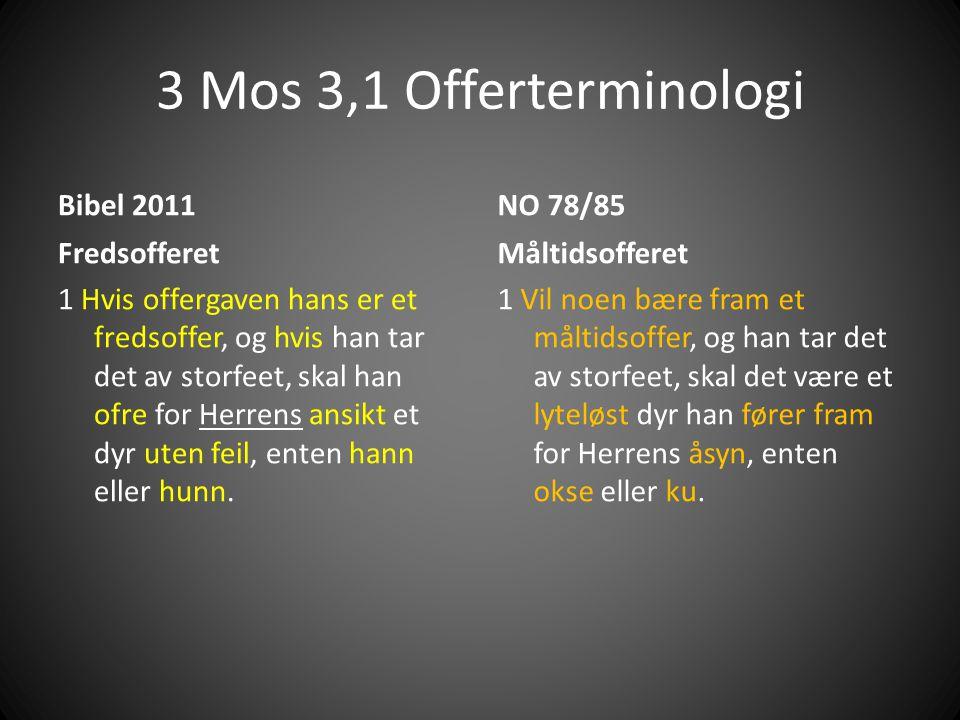3 Mos 3,1 Offerterminologi Bibel 2011 NO 78/85 Fredsofferet