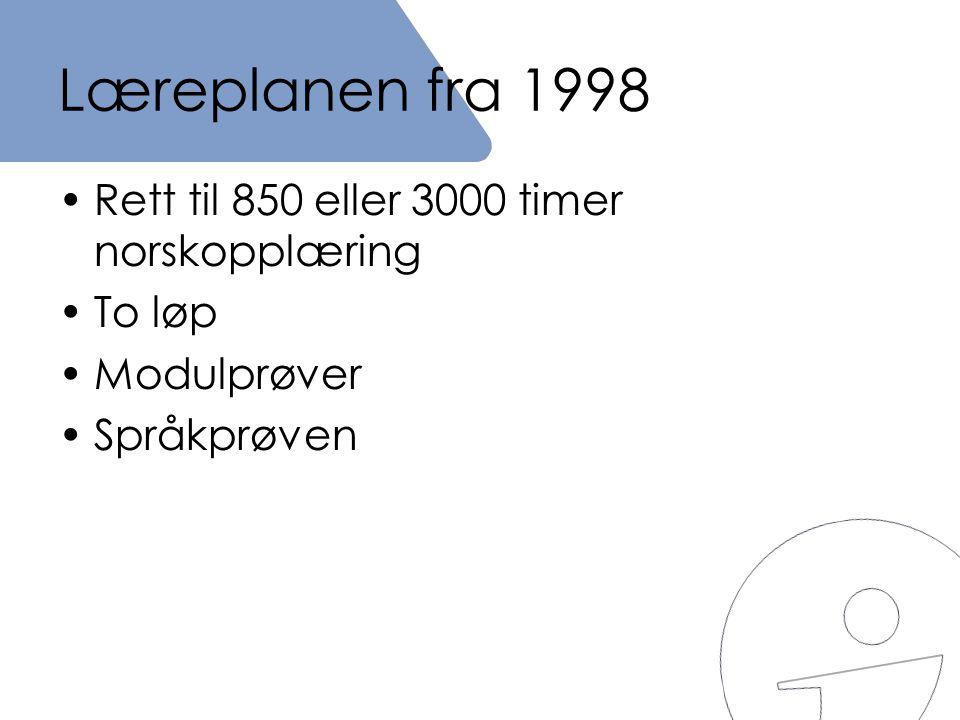 Læreplanen fra 1998 Rett til 850 eller 3000 timer norskopplæring