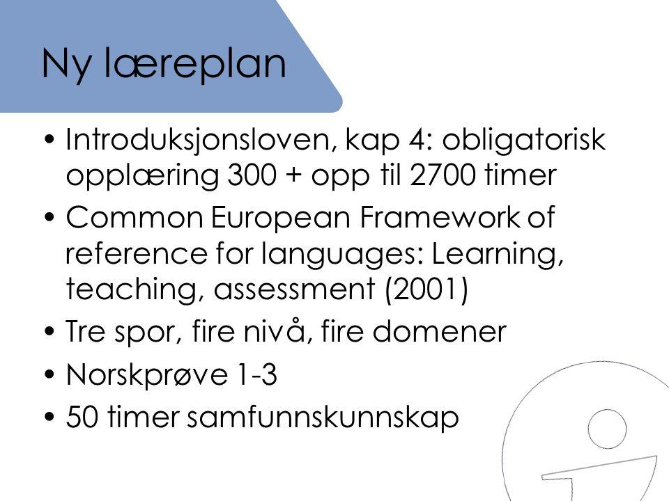 Ny læreplan Introduksjonsloven, kap 4: obligatorisk opplæring 300 + opp til 2700 timer.