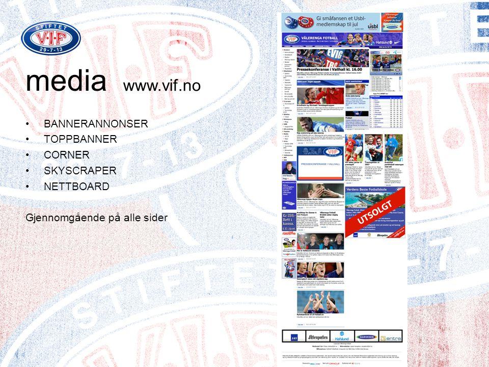 media www.vif.no BANNERANNONSER TOPPBANNER CORNER SKYSCRAPER NETTBOARD