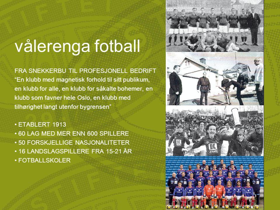vålerenga fotball FRA SNEKKERBU TIL PROFESJONELL BEDRIFT