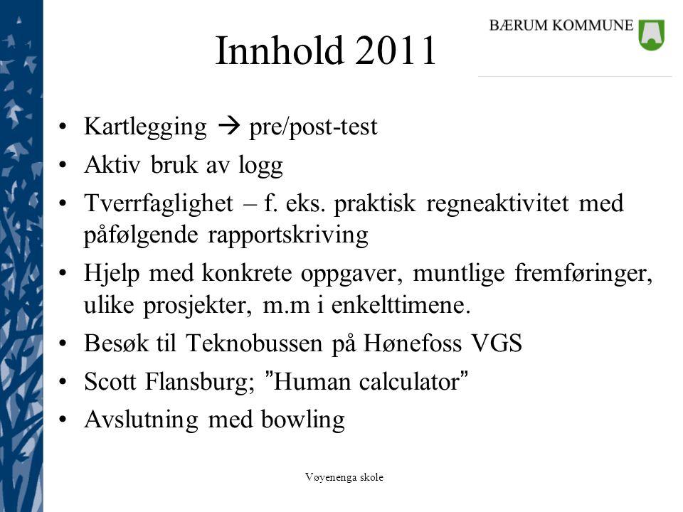 Innhold 2011 Kartlegging  pre/post-test Aktiv bruk av logg