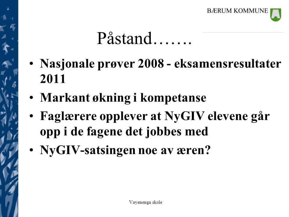 Påstand……. Nasjonale prøver 2008 - eksamensresultater 2011