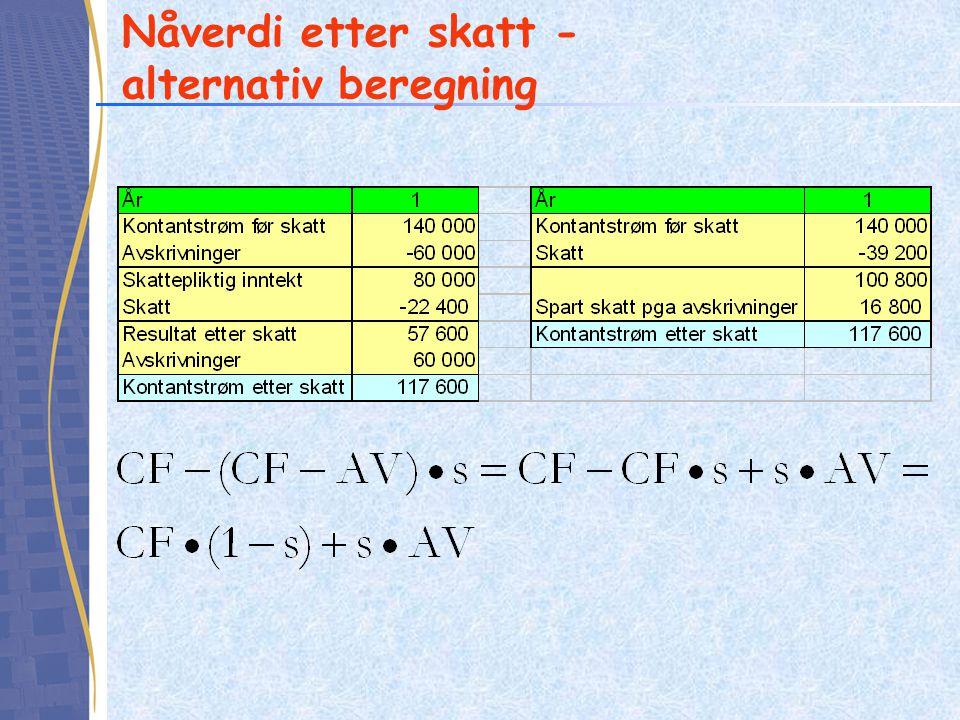 Nåverdi etter skatt - alternativ beregning