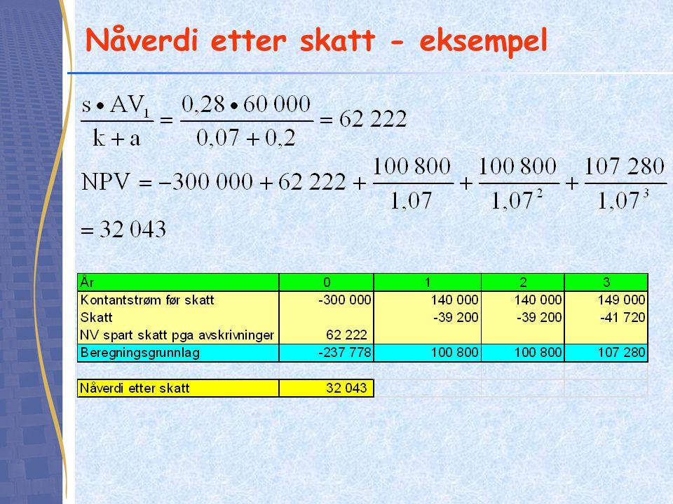 Nåverdi etter skatt - eksempel