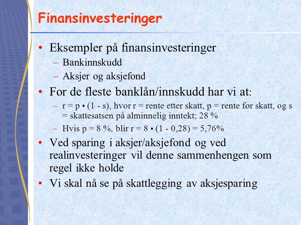 Finansinvesteringer Eksempler på finansinvesteringer