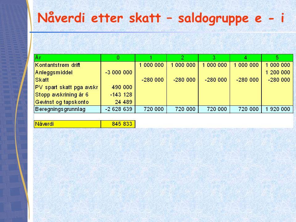 Nåverdi etter skatt – saldogruppe e - i
