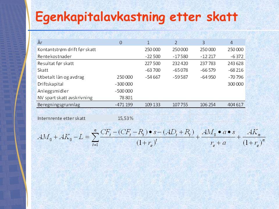 Egenkapitalavkastning etter skatt