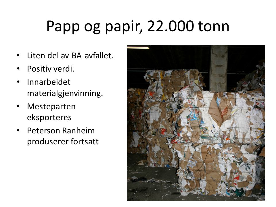 Papp og papir, 22.000 tonn Liten del av BA-avfallet. Positiv verdi.