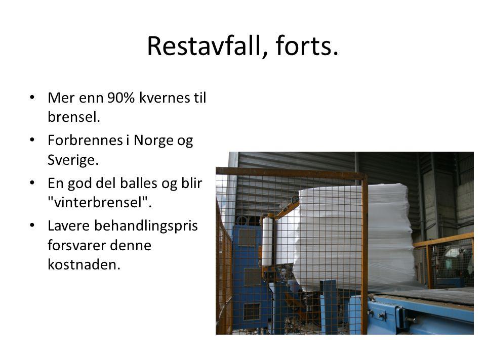 Restavfall, forts. Mer enn 90% kvernes til brensel.