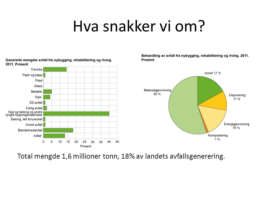 Hva snakker vi om Total mengde 1,6 millioner tonn, 18% av landets avfallsgenerering.