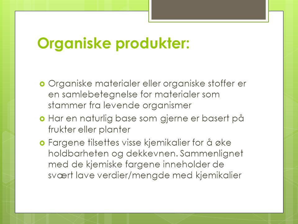Organiske produkter: Organiske materialer eller organiske stoffer er en samlebetegnelse for materialer som stammer fra levende organismer.