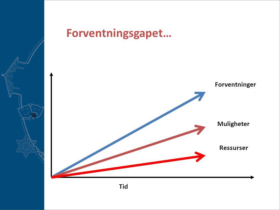 Forventningsgapet… Forventninger % Muligheter Ressurser Tid