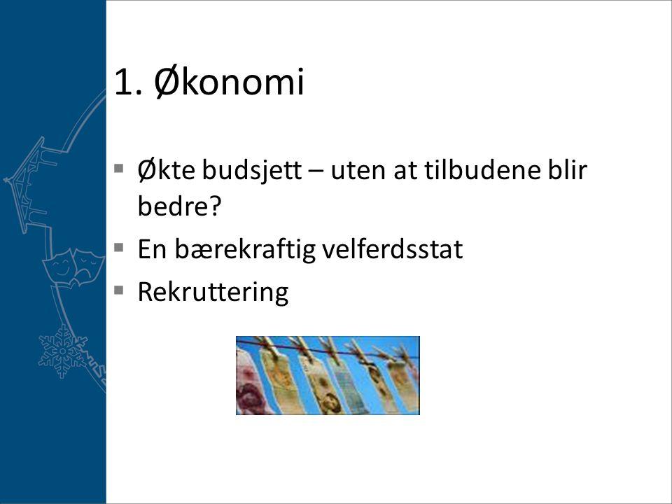 1. Økonomi Økte budsjett – uten at tilbudene blir bedre