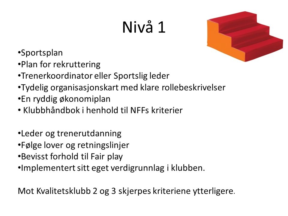 Nivå 1 Sportsplan Plan for rekruttering