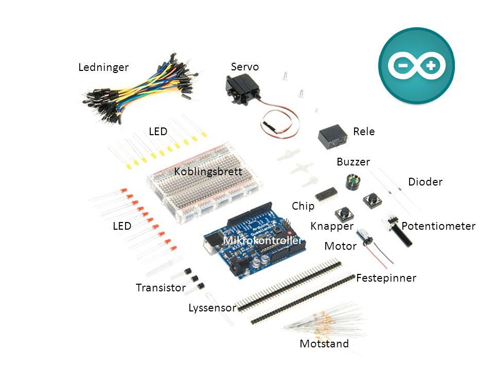 Ledninger Servo. LED. Rele. Buzzer. Koblingsbrett. Dioder. Chip. LED. Knapper. Potentiometer.
