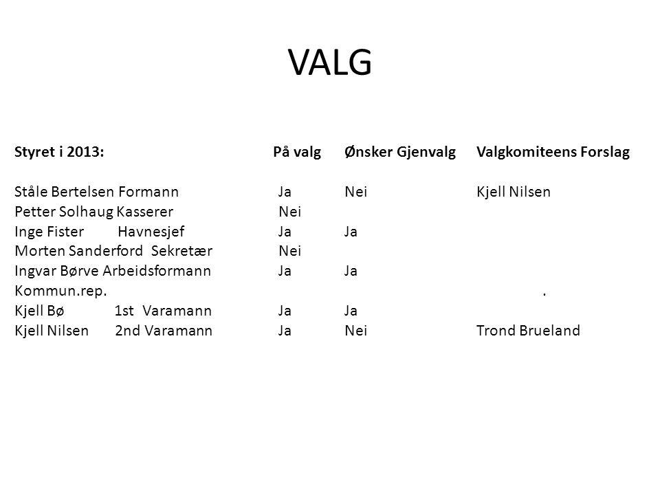 VALG Styret i 2013: På valg Ønsker Gjenvalg Valgkomiteens Forslag