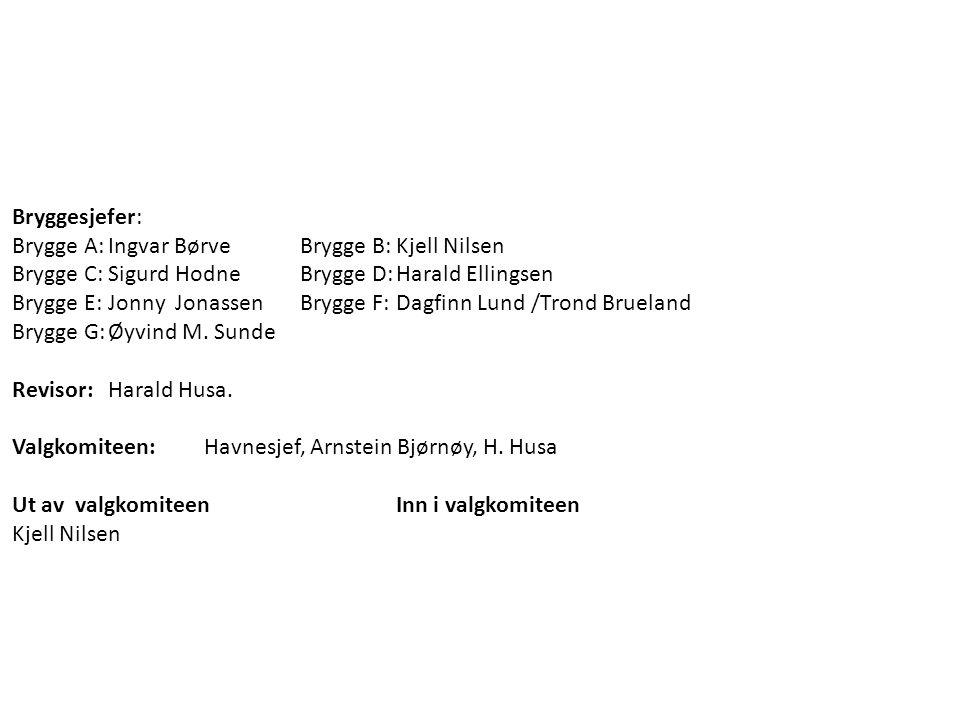 Bryggesjefer: Brygge A: Ingvar Børve Brygge B: Kjell Nilsen. Brygge C: Sigurd Hodne Brygge D: Harald Ellingsen.