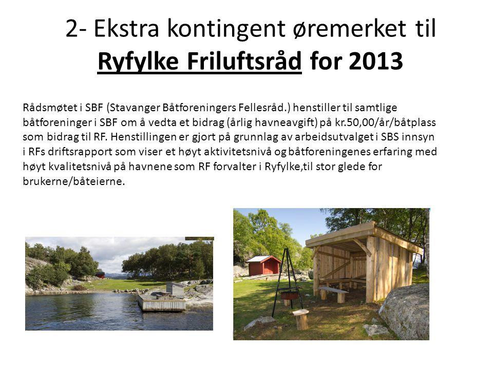 2- Ekstra kontingent øremerket til Ryfylke Friluftsråd for 2013