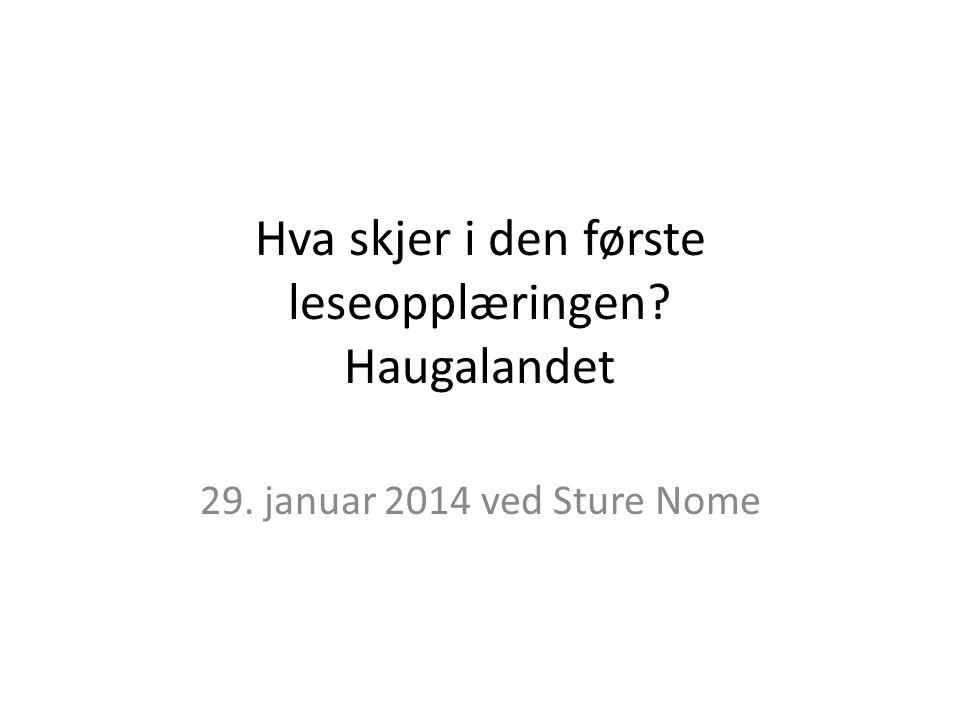Hva skjer i den første leseopplæringen Haugalandet