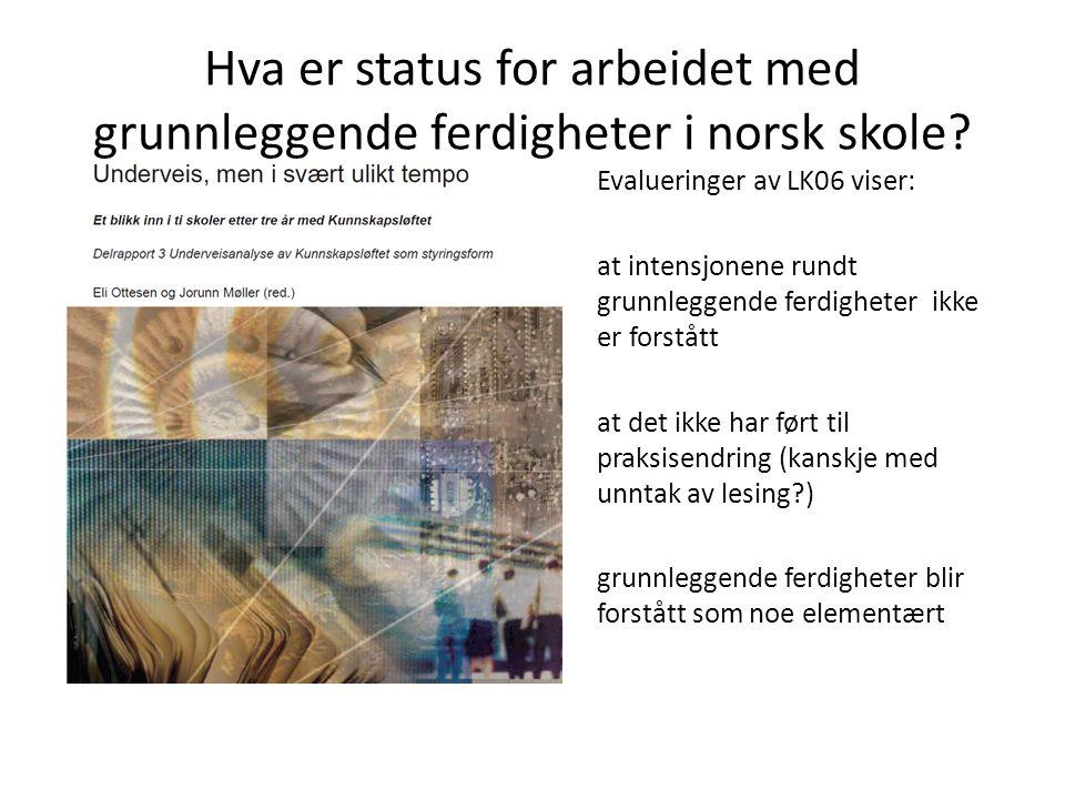 Hva er status for arbeidet med grunnleggende ferdigheter i norsk skole