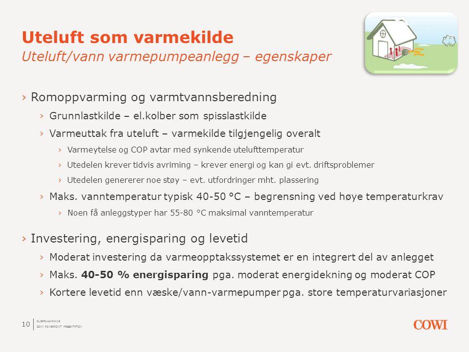 Uteluft som varmekilde Uteluft/vann varmepumpeanlegg – egenskaper