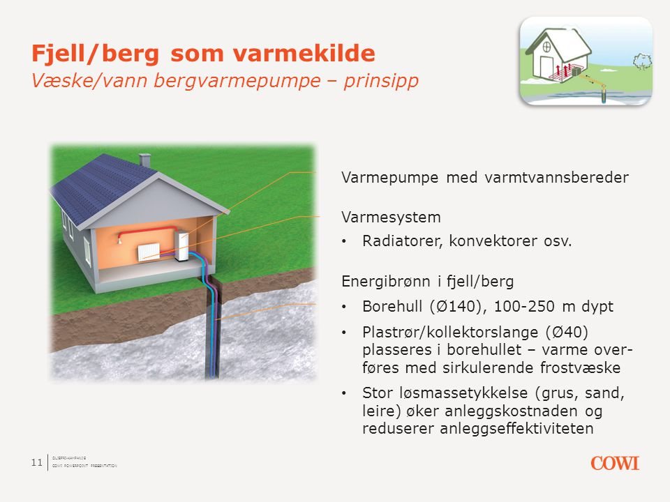 Fjell/berg som varmekilde Væske/vann bergvarmepumpe – prinsipp