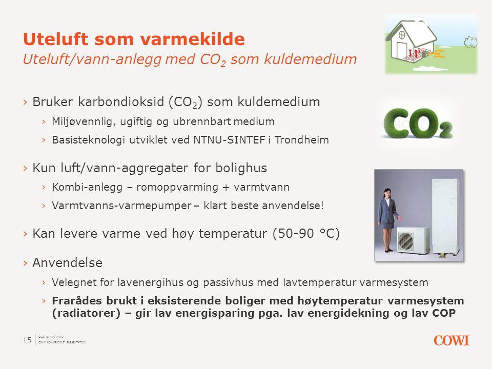 Uteluft som varmekilde Uteluft/vann-anlegg med CO2 som kuldemedium