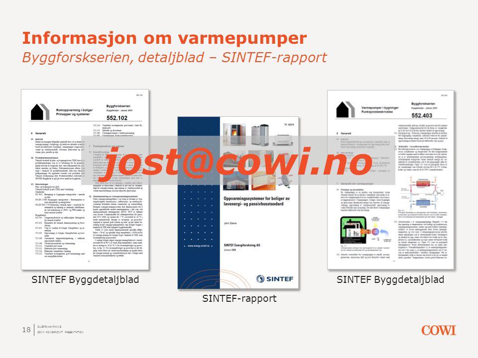 Informasjon om varmepumper Byggforskserien, detaljblad – SINTEF-rapport