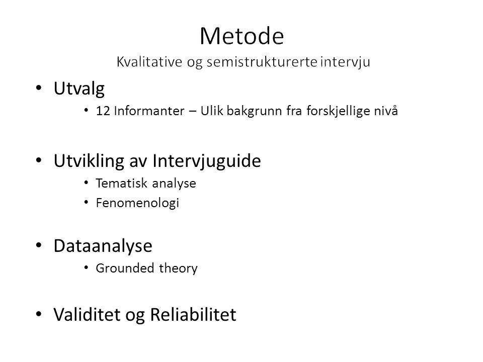 Metode Kvalitative og semistrukturerte intervju