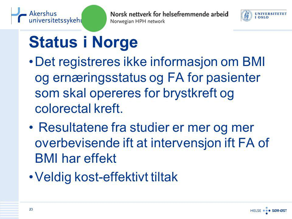 Status i Norge Det registreres ikke informasjon om BMI og ernæringsstatus og FA for pasienter som skal opereres for brystkreft og colorectal kreft.