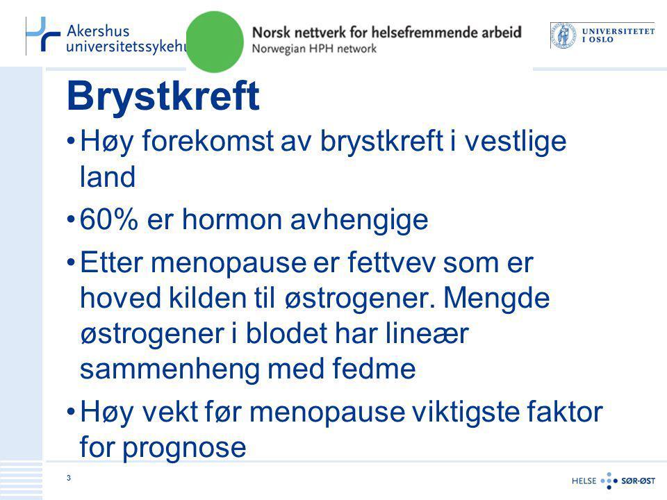 Brystkreft Høy forekomst av brystkreft i vestlige land
