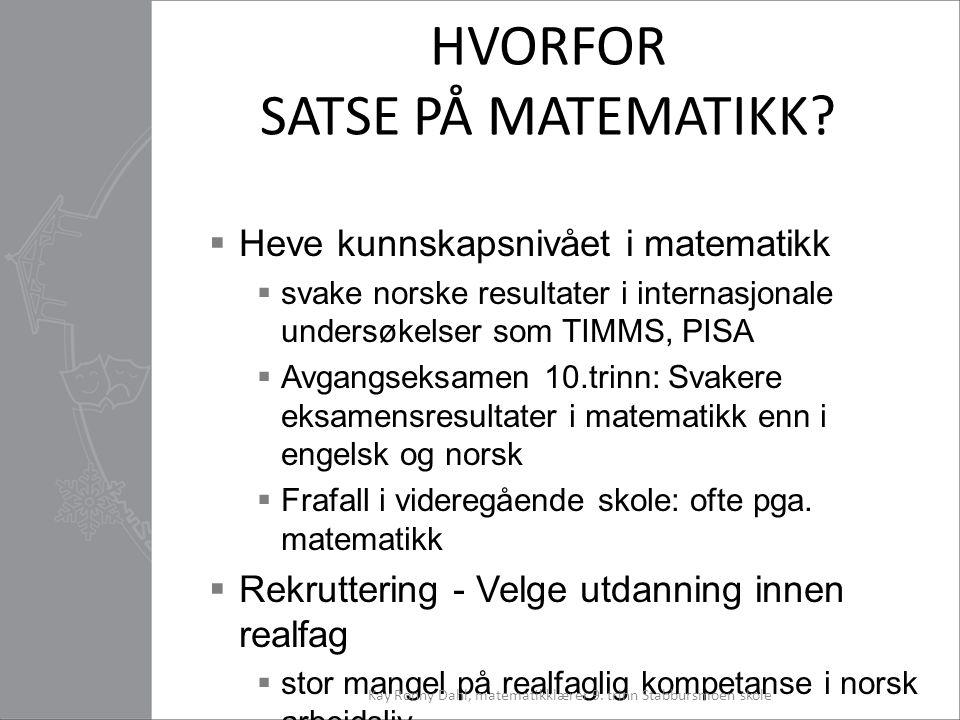 HVORFOR SATSE PÅ MATEMATIKK