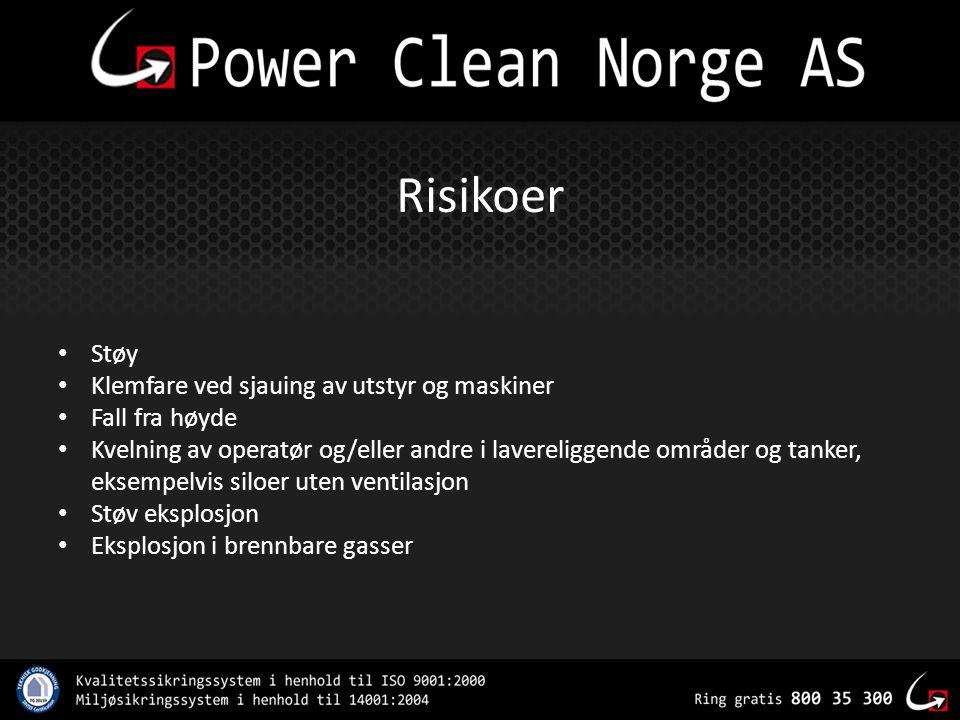 Risikoer Støy Klemfare ved sjauing av utstyr og maskiner