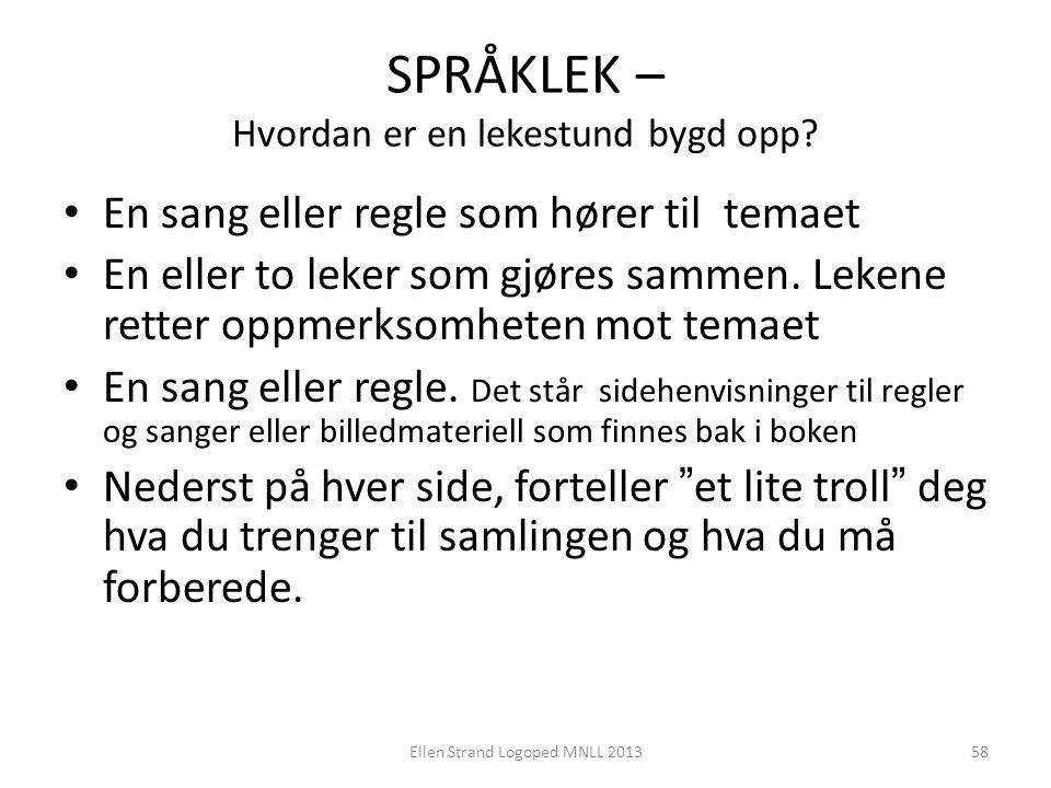 SPRÅKLEK – Hvordan er en lekestund bygd opp