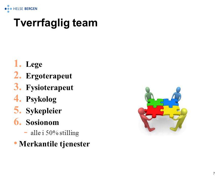 Tverrfaglig team Lege Ergoterapeut Fysioterapeut Psykolog Sykepleier