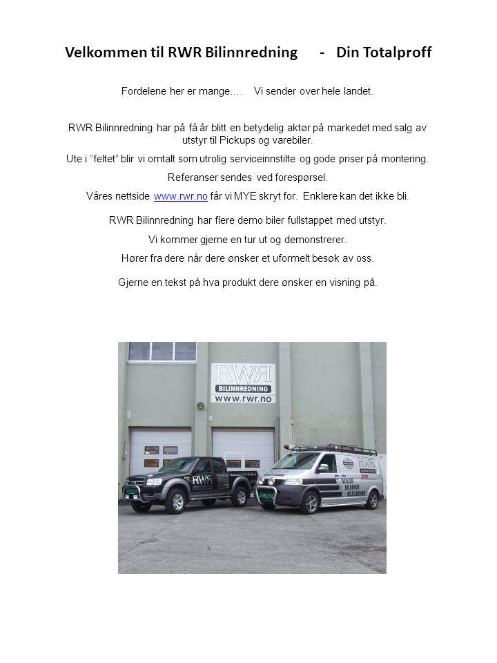 Velkommen til RWR Bilinnredning - Din Totalproff