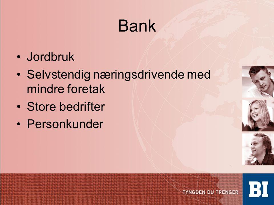 Bank Jordbruk Selvstendig næringsdrivende med mindre foretak