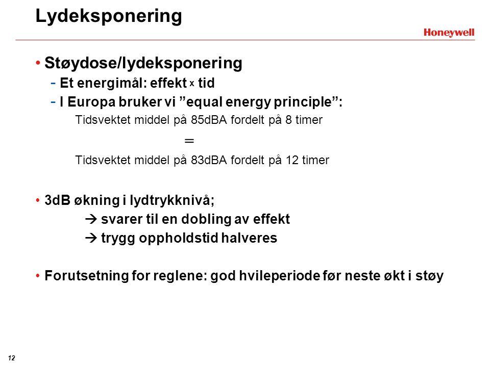 Lydeksponering Støydose/lydeksponering Et energimål: effekt x tid