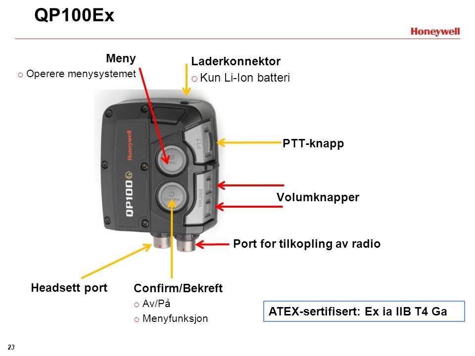QP100Ex Meny Laderkonnektor Kun Li-Ion batteri PTT-knapp Volumknapper