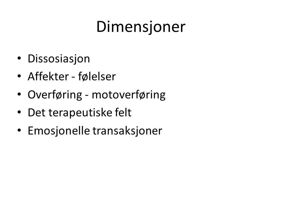 Dimensjoner Dissosiasjon Affekter - følelser