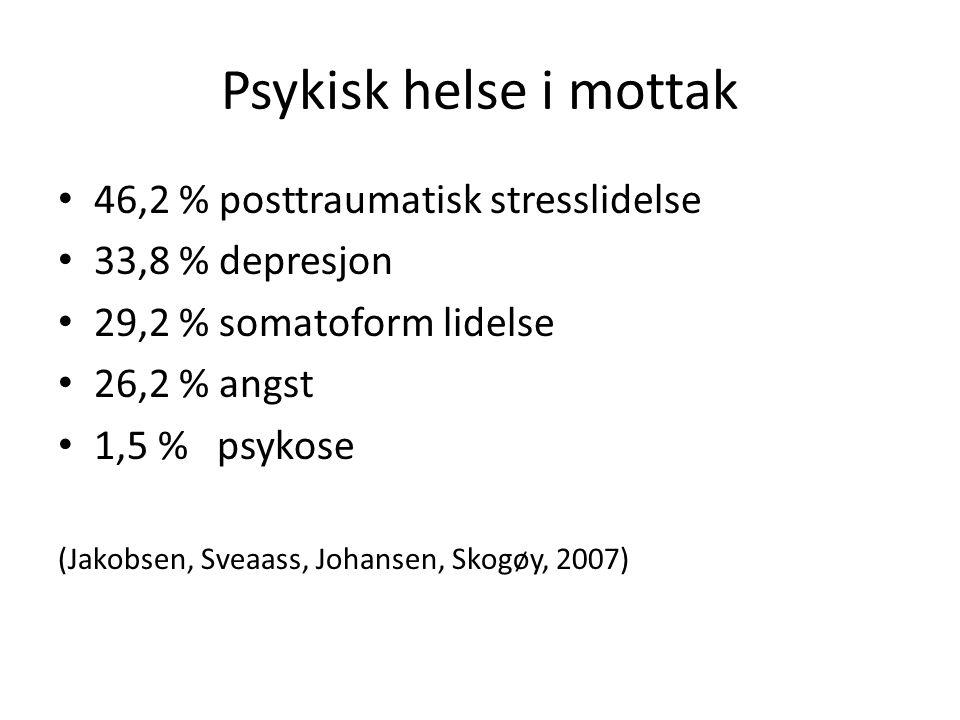 Psykisk helse i mottak 46,2 % posttraumatisk stresslidelse