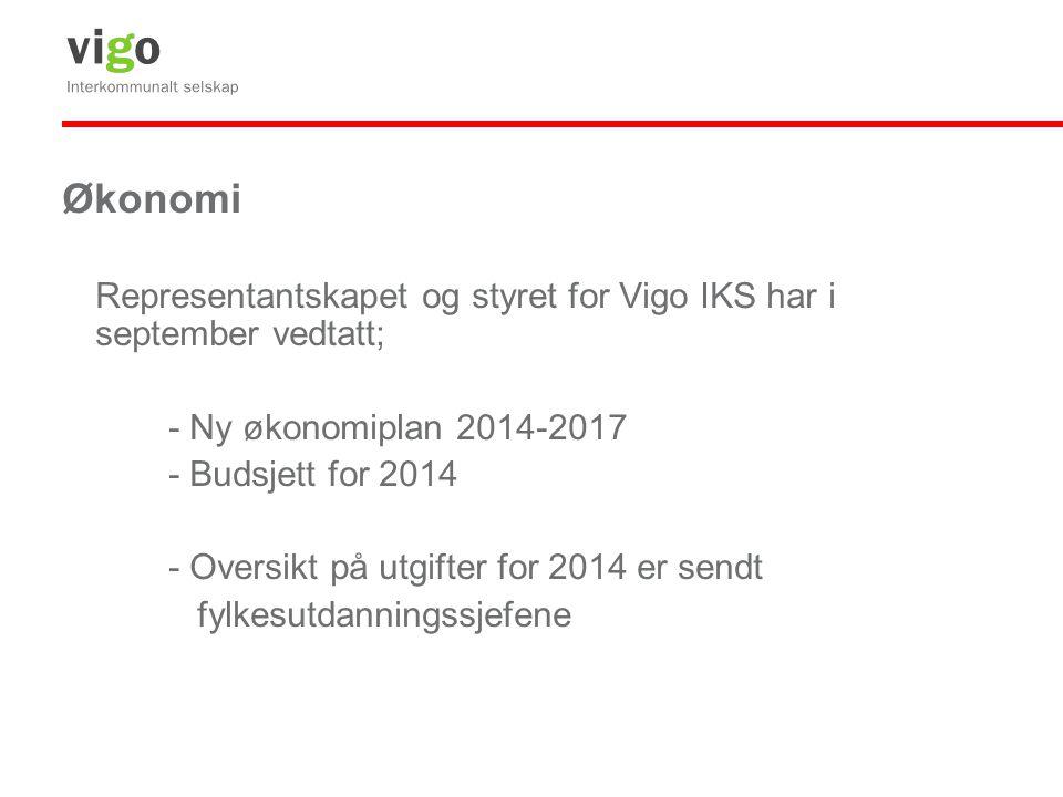 Økonomi Representantskapet og styret for Vigo IKS har i september vedtatt; - Ny økonomiplan 2014-2017.