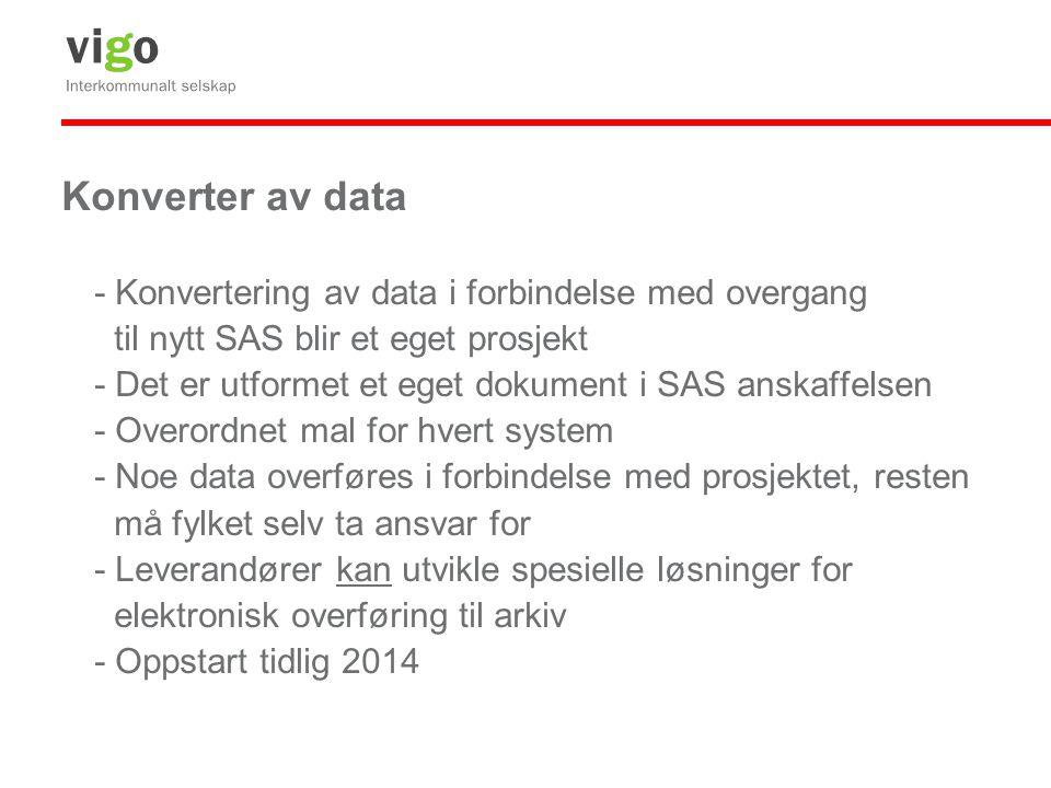 Konverter av data - Konvertering av data i forbindelse med overgang